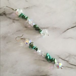 Turquoise and Rainbow Crystal Dangle Earrings